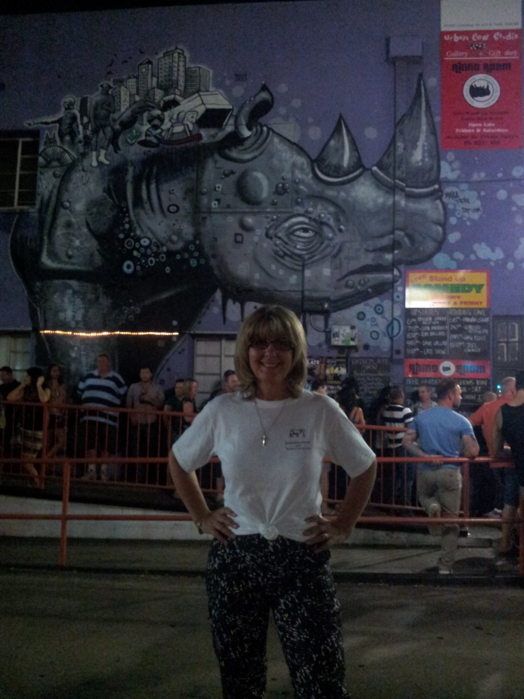 "Gaby in Adelaide outside the ""Rhino Room"""