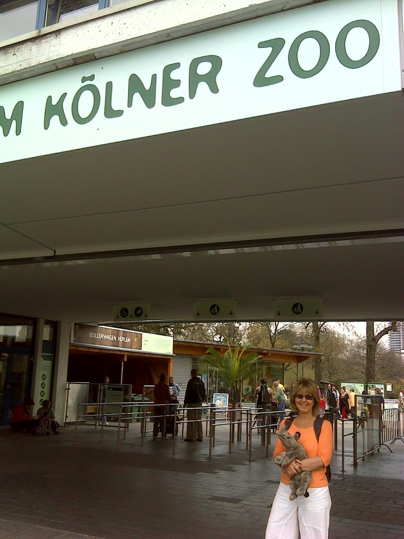 Gaby at entrance to Cologne Zoo...where the walk starts and ends