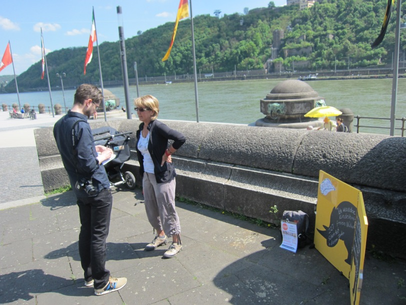 Interview at Koblenz, Deutsches Eck