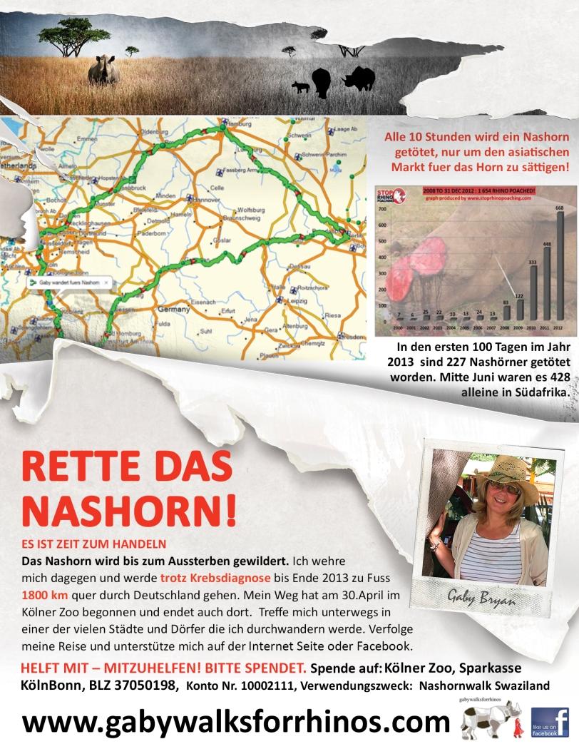 German flyer for gabywalksforrhinos