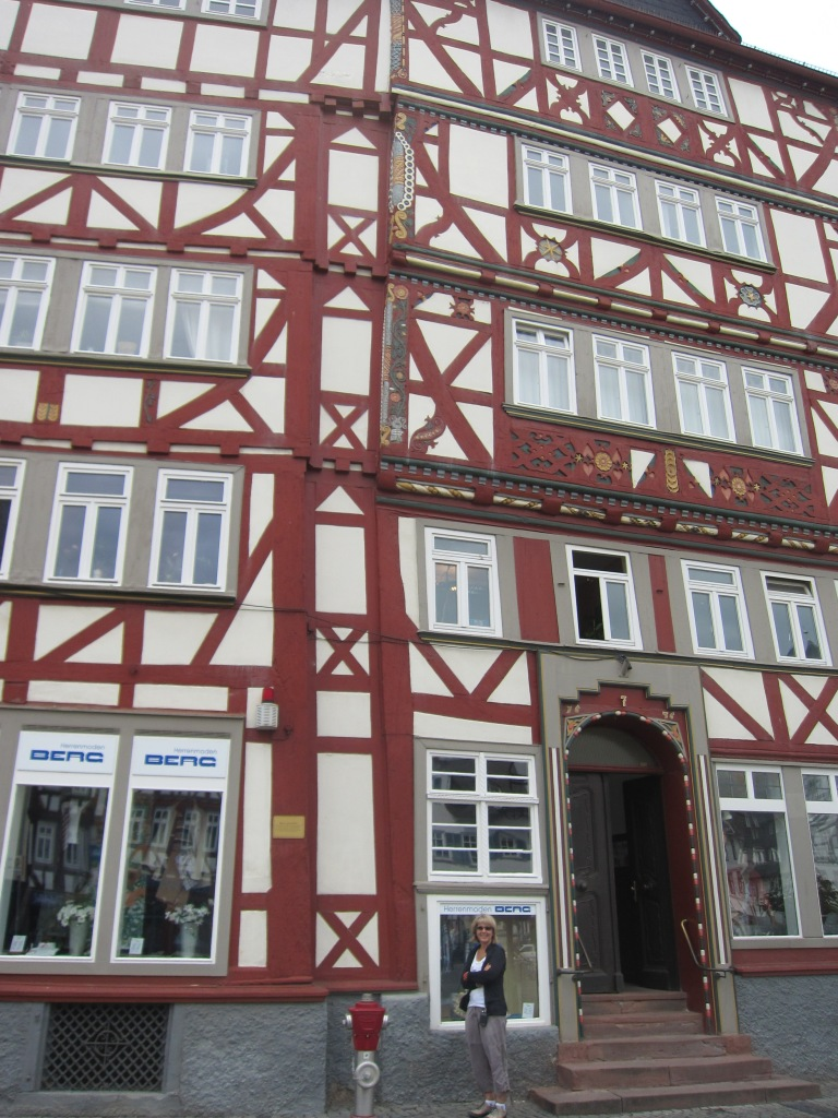 on the road, walking through Butzbach.   A lovely little village with many restored Fachwerk buildings.