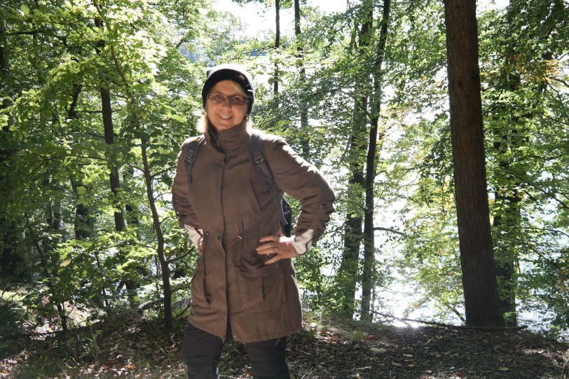 Gaby walking in forest by the Elbe